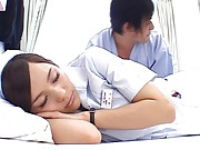 Rio Asian nurse pretending to sleep to be touched by colleague