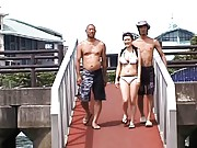 Nana Aoyama Asian gets blue sex toy over her hot thong on yacht