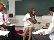Rio Asian naughty teacher is teaching dudes from adults magazine