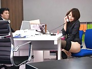 Maki Houjo Asian with black stockings fucks herself with things