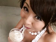Marika Asian playing with cum she drinks from champagne glass