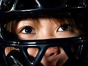 Japanese AV Model with naked pussy pees on baseball in equipment