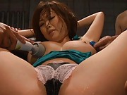 Rio Hamasaki Asian in green blouse has chest teased with sex toys