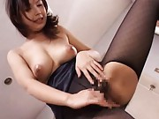 Japanese AV Model topless breaks stockings to ride dick deeply