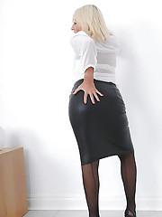 Leather skirt british nylons mature