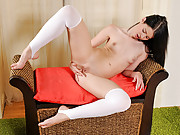 Leggy and seductive Nubile Judy Smile plays with her hot pussy
