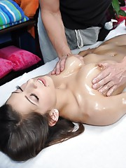 Cute brunette Lexi seduced and fucked hard on a massage table