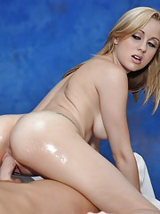 Blond shy cutie gives a massage and a little extra!