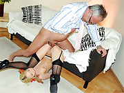 Horny old hotshot putting pecker into a girl