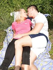 Blonde stroking her boyfriends massive penis
