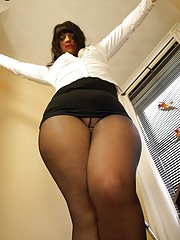 Buxom English secretary in open crotch hose wants fucking over her desk
