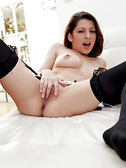 Beautiful Lexi Bloom uses her fingers to pleasure her tight pussy