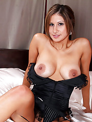 Voluptuous Anilos milf slips off her black lingerie and fucks a big vibrator