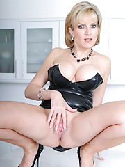 Rubber dress british mega milf babe