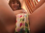 Rio Asian cutie shows push ups out of bra and rubs her fish taco