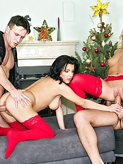 Fucking hot ass euro babes nailed hard against the christmas tree hot euro group sex