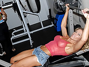 Fucking hot big tits milf fucked on the work out bench hot cumfaced real amateur sex vids
