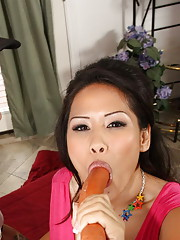 Dirty slut feels a big cock down her throat
