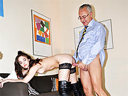 Teen stockings chick fucked hard by gentleman