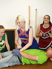 Bratty cheerleaders Barbi Katie and Hailey love a little competition. When they spot young Johnny they decide to have a little competition, to see if they can make him spurt. The three sluts milk his cock dry while they cheer each other on