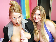Joeys GF Raina and Stacie Starr go head to head in a blowjob competition