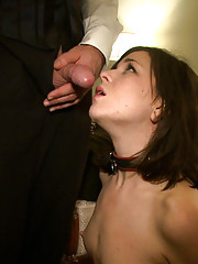 Nympho pixie is strapped down and made to swallow dildo while the other house slaves gorge themselves on cock mere inches from her hungry face.