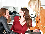 Dani daniels fucked hard against the wall and kitchen table amazing 3some fucking lesbian sex videos