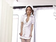 Millia naughty Asian nurse shows her ass in pink thong to patient