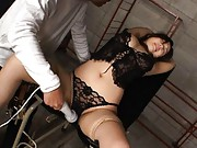 Japanese AV Model in hot black lingerie is aroused with vibrator