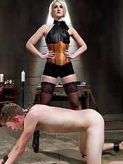 Beautiful giantess commands 21 year old slaveboy into ass worship, trampling, pegging, humiliation, CBT and a cruel ruined orgasm.