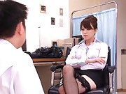 Akiho Yoshizawa makes doctor to masturbate with her long legs