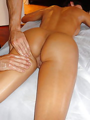 Horny slut gets a massage with a happy ending