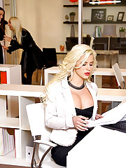 Hot lesbian girls blond big tits and ass sexy oral in the office