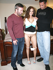 HotWifeRio pulls up her short skirt then lets two guys take turns fucking her