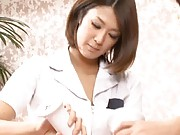 Yuka Osawa Asian with fine ass is massaged with oil by hot misses