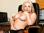Busty blonde secretary masturbates when coworkers are on lunch