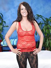 Sexy brunette Amber fucks and sucks her massage therapist