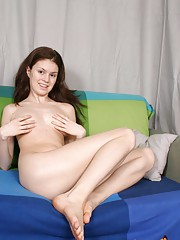 Kalie loves to play naked in bed with big toys