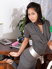 Ruth Medina is alone at the office as she strips naked and fingers her cock starved hole