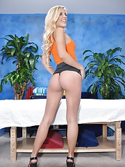 Cute 18 year old massage therapist Carmen gives a little more than a massage!