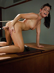 Classroom MILF seduction: sexy India Summers fucks her teaching assistant with machines so fast it takes their breath away & makes their pussies gape.
