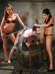 Gwen Diamond and Sativa Rose gang up on slave boy