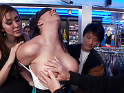Kelly Divine gets her gorgeous BIG ASS fucked and fisted in a porn store while strangers grope her tits and play with her cunt!