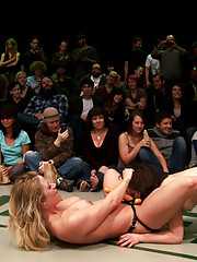 The wresting is done, the losers are getting fucked & humiliated! 5 girl orgy in front of the live crowd! Deep fucking, brutal fisting! Destruction!
