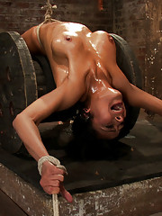 Brutal nipple suction. Pussy flogged. Face-fucking, Caning. Fingered to orgasm.