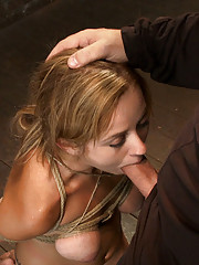 Bratty 19yr old, bound on her knees and made to suck cock. Her perfect natural breast are brutally bound. Suffers her first suspension, made to cum!