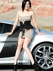 Kami Li is a sexy first timer that masturbates in front of a sport car