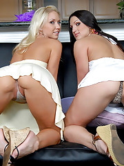 Check out hot ass long leg lesbians fuck eachother in these hot hard finger fucking cumming dildo fucking pics