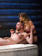 18 year old slaveboy chewed up and spit out by two HOT nymph Bitches and made to cum without even touching his cock!