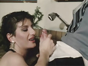 Hot retro chick clothed bathing and fucking